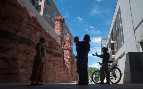 "Rick Egan  |  The Salt Lake Tribune  The ""Witches at Echo Canyon"" designed by NEA award-winning designer Patricia Johanson at the Sugar House Draw, Thursday June 18, 2015"