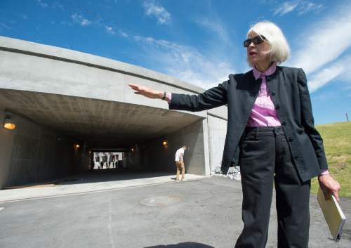 Rick Egan  |  The Salt Lake Tribune  Patricia Johanson points out the site of the sego lily, which will have 32-foot petals and weave together the historical narrative of the different sections of The Draw at Sugar House, Thursday, June 18, 2015.