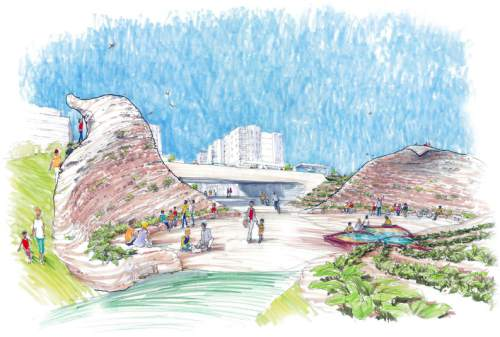(Courtesy photo)  Illustrations showing the setting, size and scope of the sego lily at The Draw at Sugar House.