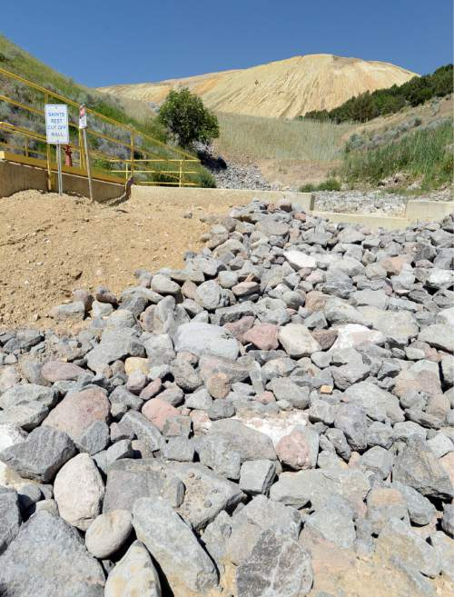 Al Hartmann |  The Salt Lake Tribune The recently constructed waste dump and cut-off wall that stabilizes the bottom of the tailings pile and deals with runoff from large rain events.