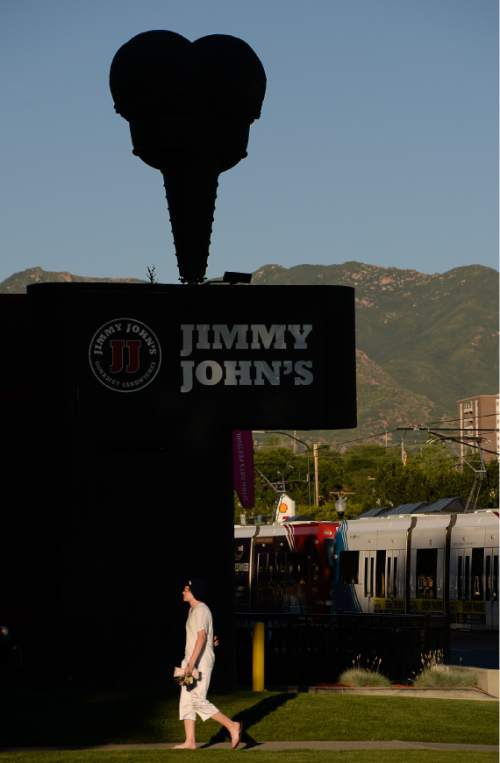 Francisco Kjolseth  |  The Salt Lake Tribune Jimmy Johns on 400 South and 600 East in Salt Lake City dons the former Snelgrove ice cream cone on its building. The store once sold the locally-made ice cream, but was painted black when Jimmy Johns moved in.