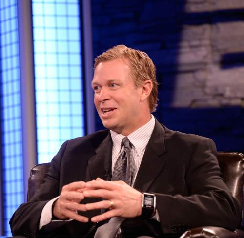 Al Hartmann |  The Salt Lake Tribune BYU Head Football Coach Bronco Mendenhall answers interview questions on live TV program Tuesday June 24 for BYU football media day in Provo.