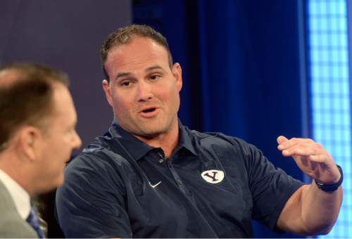 Al Hartmann |  The Salt Lake Tribune BYU's new strength and conditioning Coach Frank Wintrich answers questions on live TV program Tuesday June 24 for BYU football media day in Provo.