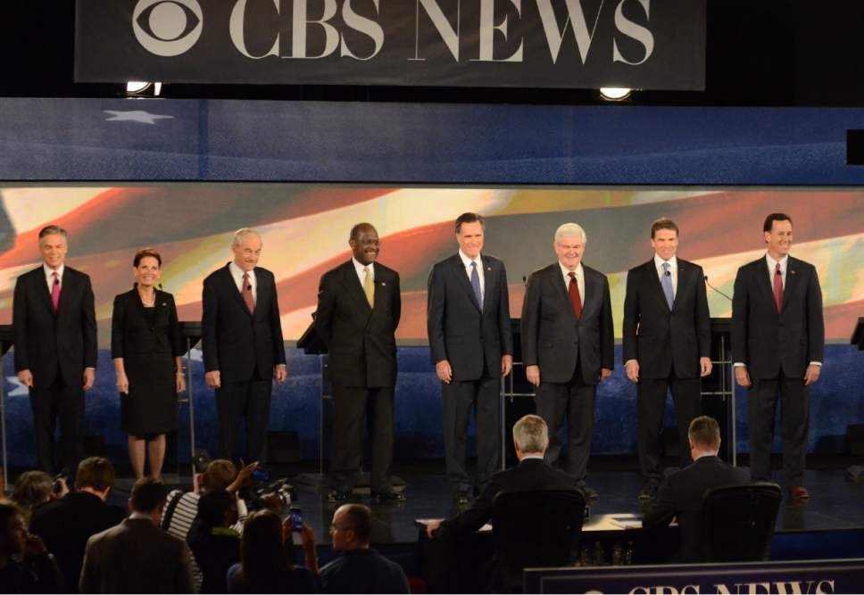 Richard Shiro  |  The Associated Press  FILE - Eight Republican presidential candidates prepare to debate at the CBS News/National Journal foreign policy debate at the Benjamin Johnson Arena in Spartanburg, S.C.