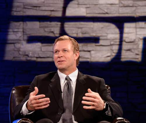 Al Hartmann |  The Salt Lake Tribune BYU Head Football Coach Bronco Mendenhall answers questions on live TV program Tuesday June 24 for BYU football media day in Provo.