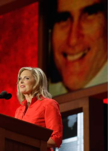 Ann Romney, wife of then- U.S. Republican presidential nominee Mitt Romney, addresses the Republican National Convention in Tampa, Fla., on Tuesday, Aug. 28, 2012. (AP Photo/Charles Dharapak)