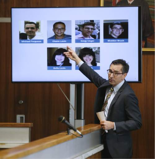 "David Dinielli delivers the opening statements for the plaintiff in a fraud trial against Jews Offering New Alternatives for Healing, (JONAH) Wednesday, June 3, 2015, in Jersey City, N.J. The nonprofit New Jersey based group that promised to turn gays heterosexual instead offered ""junk science"" and lies, Dinielli told jurors Wednesday during opening statements in the fraud trial involving so-called gay conversion therapy. (Alex Remnick/The Star-Ledger via AP, Pool)"
