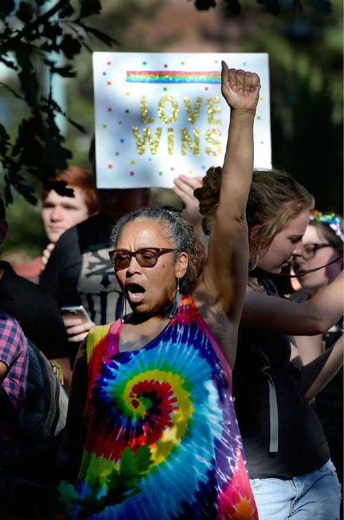 Scott Sommerdorf   |  The Salt Lake Tribune A woman cheers as the SCOTUS same-sex marriage decision is announced at a rally in City Creek Park to celebrate the  ruling, Friday, June 26, 2015.