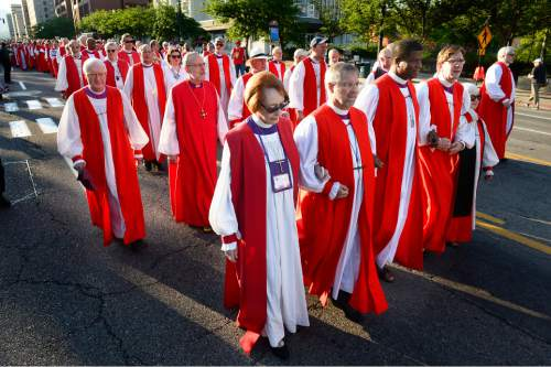 Scott Sommerdorf   |  The Salt Lake Tribune With Carolyn Tanner Irish in the foreground, more than 60 Episcopal bishops and and about 2,000 in all march to protest gun violence, Sunday, June 28, 2015. The march started at The Salt Palace, went to Pioneer Park and returned to the Salt Palace - site of the General Convention of the Episcopal Church.