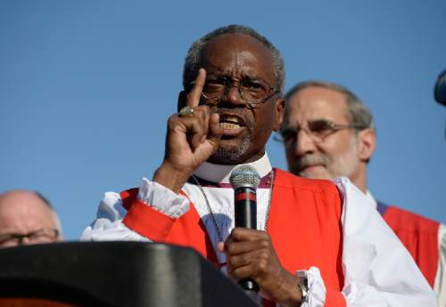 Scott Sommerdorf   |  The Salt Lake Tribune Bishop Michael Curry of North Carolina who was elected at the 27th Presiding Bishop of the Episcopal Church speaks after a march against gun violence held in Salt Lake City, Sunday, June 28, 2015.