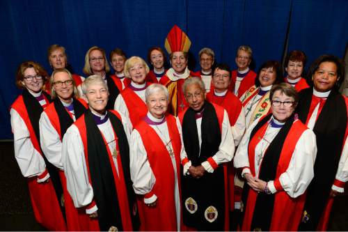Scott Sommerdorf   |  The Salt Lake Tribune A gathering of the 18 female bishops at the General Convention of the Episcopal Church, held at the Salt Palace in Salt Lake City, Sunday, June 28, 2015.