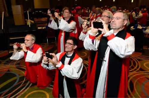 Scott Sommerdorf   |  The Salt Lake Tribune Episcopal bishops scramble to take their own photos of a rare grouping of all 18 female Episcopal bishops at the General Convention of the Episcopal Church held at the Salt Palace in Salt Lake City, Sunday, June 28, 2015.