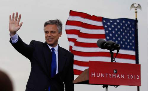 Former Utah Gov. Jon Huntsman announces his bid for the Republican presidential nomination, Tuesday, June 21, 2011, at Liberty State Park in Jersey City, N.J. (AP Photo/Mel Evans)