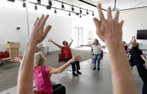 Francisco Kjolseth | The Salt Lake Tribune   In a collaboration between the Department of Physical Therapy and the Department of Modern Dance at the University of Utah people living with Parkinson's Disease engage in dance, creative movement, and physical therapy to help them with their motor skills.