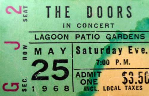 Courtesy photo  A ticket stub from The Doors May 25, 1968, performance at Lagoon Patio Gardens.
