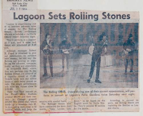 |  Courtesy photo  A newspaper article previewing the Rolling Stones' concert at Lagoon's Patio Gardens.
