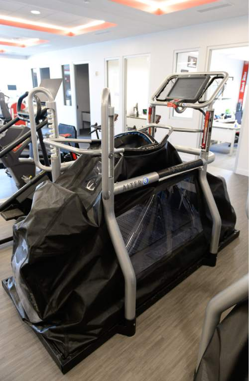 Francisco Kjolseth  |  The Salt Lake Tribune Anti-gravity tread mills used for athlete rehabilitation are part of the  University of Utah's new state-of-the-art Sorenson Legacy Foundation High Performance Center next to the Huntsman Center.