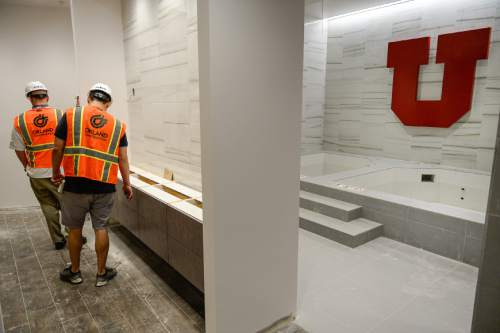 Francisco Kjolseth  |  The Salt Lake Tribune The University of Utah continues its progress on the new basketball facility next to the Huntsman Center with completion expected later this summer. Pictured are the hot and cold tubs in the women's basketball lockers.