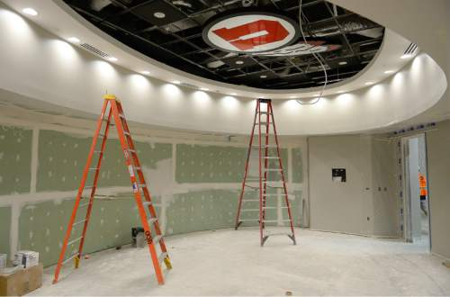Francisco Kjolseth  |  The Salt Lake Tribune The University of Utah continues its progress on the new basketball facility next to the Huntsman Center with completion expected later this summer. Pictured is the women's basketball locker room.