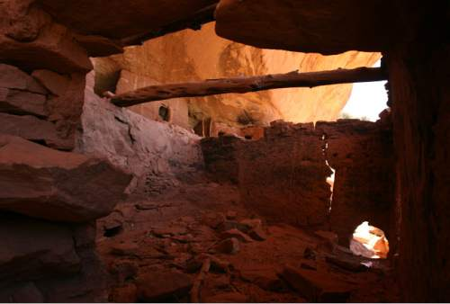 Leah Hogsten  |  The Salt Lake Tribune  Above, a ceremonial kiva, one of the many Moon House structures.  Moon House is a Pueblo III-period cliff dwelling located in southeastern Utah on Cedar Mesa in McLoyd's Canyon. It was created by the Anasazi or Ancestral Puebloan peoples between 1150 and 1300 A.D.