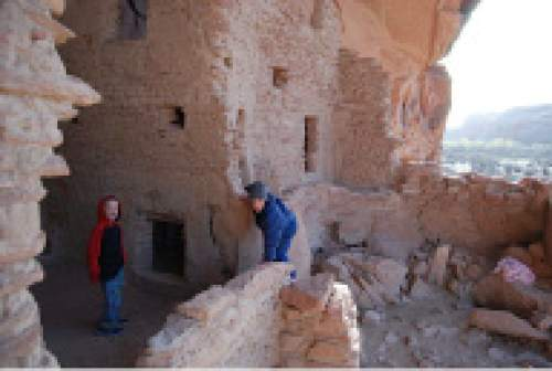 Brian Maffly  |  The Salt Lake Tribune   Emilio Maffly, left, and Henry Gilbert explore River House, an Ancestral Puebloan ruin in a cliff overlooking the San Juan River about seven miles downstream from Bluff. This popular spot is included in three national monument proposals centered on southeast Utah's Cedar Mesa.