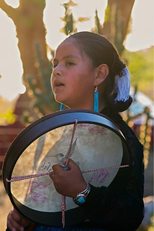 "Courtesy  |  Tim Peterson  Nine year old Navajo singer,""Nadia Armajo."""