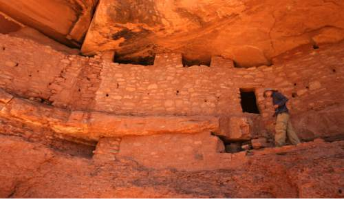 Photo by Leah Hogsten  |  The Salt Lake Tribune  Hiker Richard Schwarz has visited Moon House four times and claims it is his favorite site to visit in S. Utah.  Moon House is a Pueblo III-period cliff dwelling located in southeastern Utah on Cedar Mesa in McLoyd's Canyon. It was created by the Anasazi or Ancestral Puebloan peoples between 1150 and 1300 A.D.  McLoyd's Canyon Cedar Mesa 5/4/10