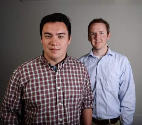 Steve Griffin  |  The Salt Lake Tribune Salt Lake Tribune sports writers Kyle Goon, left, and Matthew Piper.