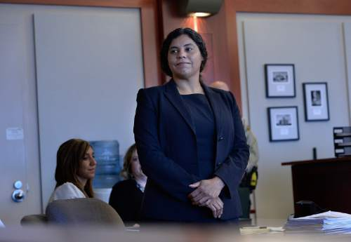 Scott Sommerdorf   |  The Salt Lake Tribune Brenda Viera, an attorney with Salt Lake Legal Defenders Association, listens in Third District Court on Jan. 8, 2015.