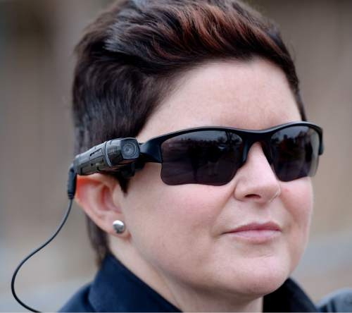 Steve Griffin  |  The Salt Lake Tribune  West Valley City Police officer Michelle Shepherd wears her new body camera, for the first time, on her sun glasses, in West Valley City, Monday, March 2, 2015.