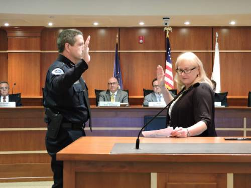 |  Courtesy   L. Jeff Carr is sworn in as the new police chief of South Jordan City.