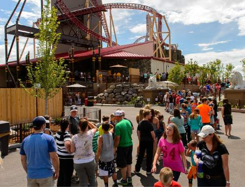 Trent Nelson     The Salt Lake Tribune The long line for Lagoon's new thrill ride Cannibal, Wednesday July 8, 2015. The roller coaster plunges riders into a 116 degree free-fall and up to 70 mph.