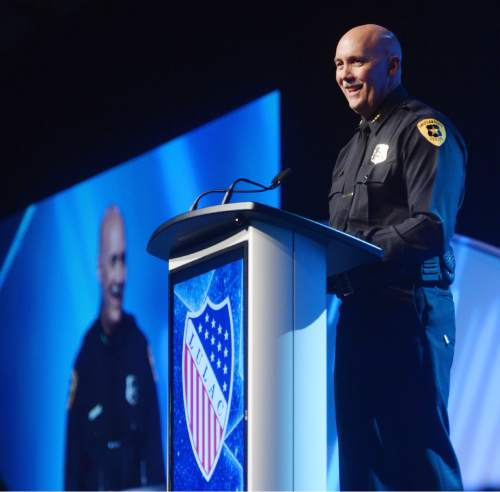 Steve Griffin  |  The Salt Lake Tribune    Interim Salt Lake City Police Chief Mike Brown addresses the national convention of the League of United Latin American Citizens (LULAC) at the Salt Palace Convention Center in Salt Lake City, Thursday, July 9, 2015.