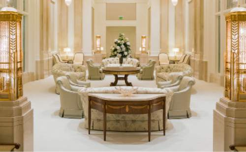 The Celestrial Room in the newly remodeled Mormon Temple in Ogden, Utah. Photo courtesy LDS Newsroom