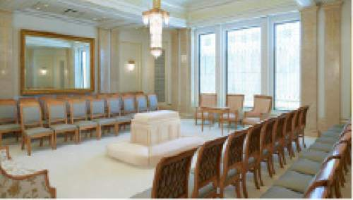 (Courtesy of lds.org) A sealing room of the LDS Church' s Phoenix Temple.