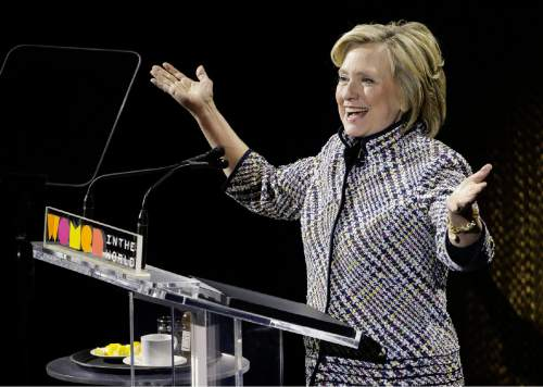 Hillary Clinton speaks during the sixth annual Women in the World Summit, Thursday, April 23, 2015, in New York. (AP Photo/Julie Jacobson)