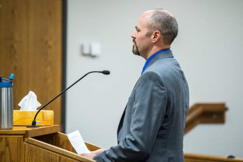 Chris Detrick  |  The Salt Lake Tribune  Deputy Greg Sherwood speaks during the sentencing of Meagan Grunwald at 4th District Court in Provo Wednesday July 8, 2015.  Eighteen-year-old Meagan Grunwald was sentenced Wednesday to 25 years to life in prison for being an accomplice to the murder last year of Utah County Sheriff's Sgt. Cory Wride and the attempted murder of Deputy Greg Sherwood.