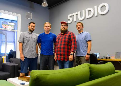 Trent Nelson  |  The Salt Lake Tribune The team at Studio, in their Provo office, Tuesday June 16, 2015. From left, Brad Hagen, Spencer Smith, Joe Wilson, Kevin Heap.