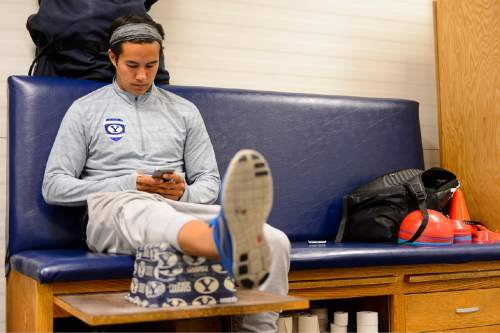 Trent Nelson  |  The Salt Lake Tribune Garret Gee in the training room of BYU's indoor practice facility in Provo, where he did a lot of work on his app, Tuesday June 16, 2015. Gee created his first app, Scan, as a freshman student at BYU and sold it three years later for $54 million.