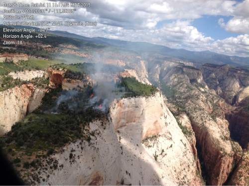 Courtesy  |  National Park Service  The Cathedral Fire in Zion National Park was started by a lightning from a thunderstorm that passed through the area on the evening of July 9.