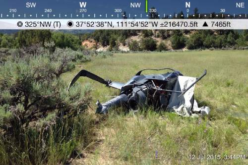 Courtesy  |  Garfield County Sheriff's Office  A Robinson R22 helicopter crashed 9 miles up Main Canyon west of Escalante at approximately 1 p.m. on Sunday, July 12.