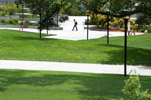 Scott Sommerdorf      The Salt Lake Tribune The area behind the Student Union has large nicely-greened lawns inside a network of walking paths, Friday, July 10, 2015. Despite efforts to conserve and xeriscape, the U has six zones that show up in the top 20 list of Salt Lake City water users.