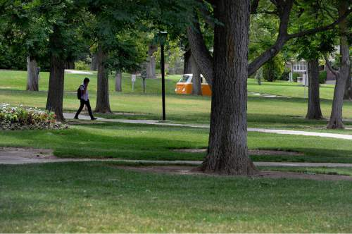 Scott Sommerdorf      The Salt Lake Tribune President's Circle is a lush, park-like zone, Friday, July 10, 2015. Despite efforts to conserve and xeriscape, the U has six zones that show up in the top 20 list of Salt Lake City water users.