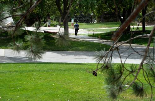 Scott Sommerdorf   |  The Salt Lake Tribune The area behind the Student Union has large nicely-greened lawns inside a network of walking paths, Friday, July 10, 2015. Despite efforts to conserve and xeriscape, the U has six zones that show up in the top 20 list of Salt Lake City water users.
