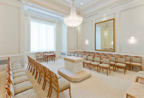 Sealing room in the Brigham City Utah Temple. Courtesy LDS Newsroom