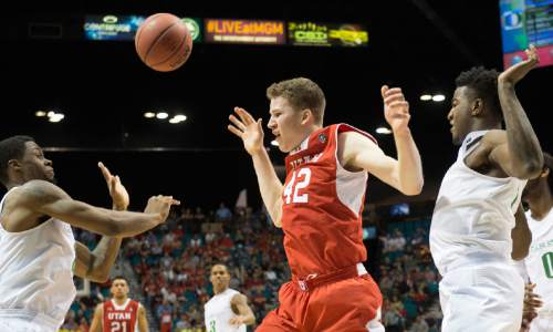 Rick Egan  |  The Salt Lake Tribune  Utah Utes forward Jakob Poeltl (42) has the ball knocked away, in Pac-12 Basketball Championship action Utah vs. Oregon, at the MGM Arena, in Las Vegas, Friday, March 13, 2015.