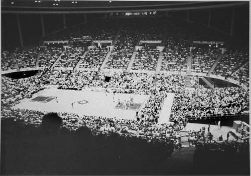|  Tribune File Photo  The Jazz playing at the Salt Palace during the 1981 -1982 season.