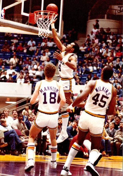 photo courtesy Utah Jazz  Adrian Dantley plays in the Salt Palace.