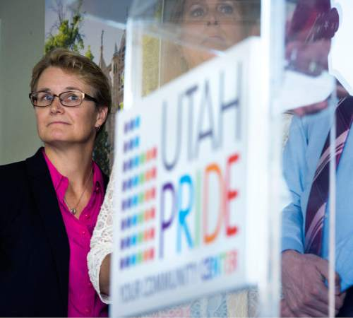 Steve Griffin  |  The Salt Lake Tribune   Marian Edmonds-Allen is introduced as the new executive director of the Utah Pride Center during a press conference at the center in Salt Lake City, Thursday, July 16, 2015.