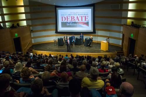 Chris Detrick  |  The Salt Lake Tribune Community activist George Chapman speaks a Salt Lake City Mayoral Debate at Salt Lake City's Main Library Thursday July 16, 2015.